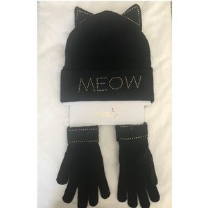 New Divided MEOW Beanie Cat Hat & Gloves Black